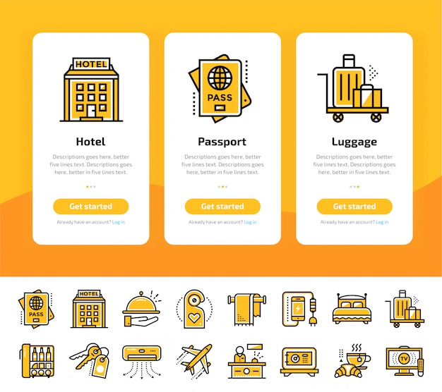 Onboarding app screens of hotel services icon set Premium Vector