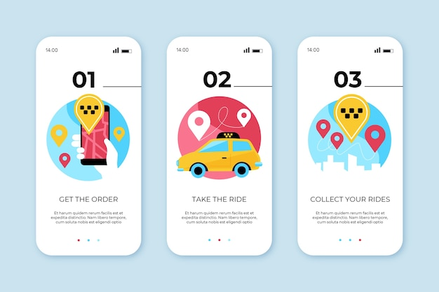 Onboarding app screens for taxi service Free Vector