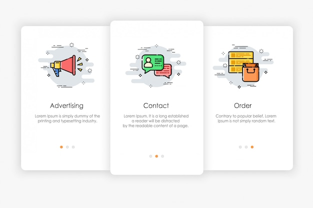 Onboarding screens design in marketing concept. modern and simplified   illustration, template for mobile apps. Premium Vector