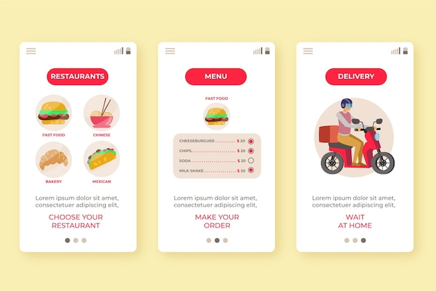 Onboarding screens for food delivery app Free Vector