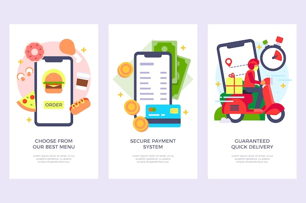 Onboarding screens for food delivery application Free Vector