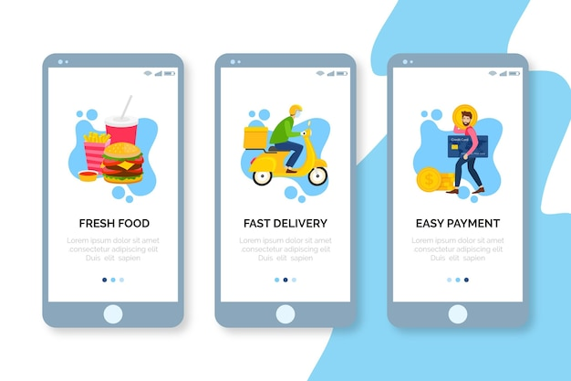 Onboarding screens food delivery on mobile phone Free Vector