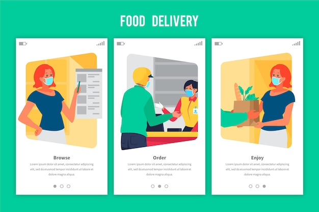 Onboarding screens food delivery order and receive Free Vector
