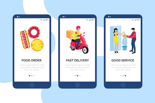 Onboarding screens food delivery stay at home Free Vector