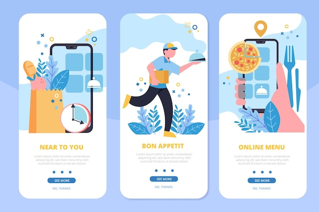 Onboarding screens food delivery with courier Free Vector