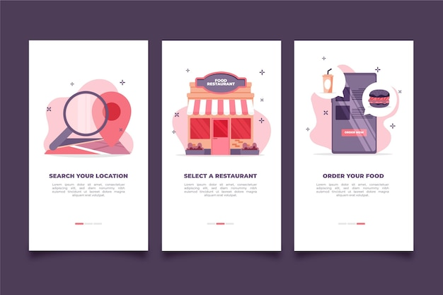 Onboarding screens food delivery Free Vector