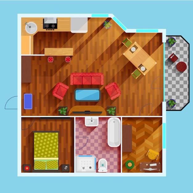 Free Vector One Bedroom Apartment Floor Plan