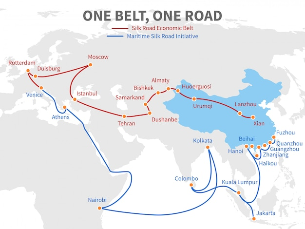 Premium Vector | One belt - one road chinese modern silk road. economic  transport way on world map vector illustration