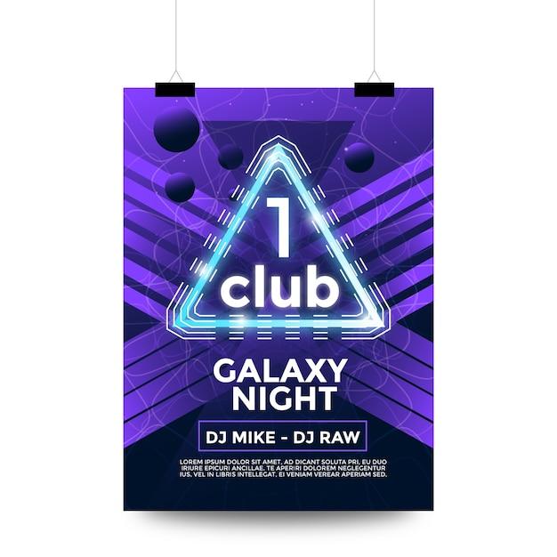 One club galaxy night party flyer Premium Vector