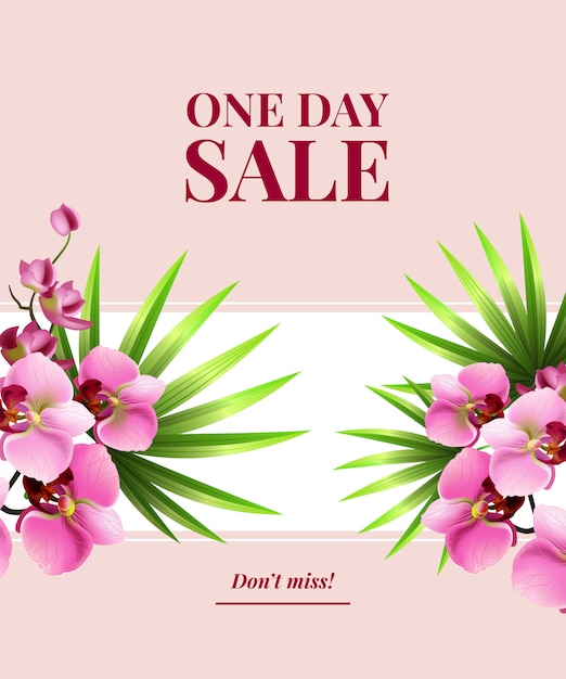 One day sale, do not miss poster with pink\ flowers on white banner.