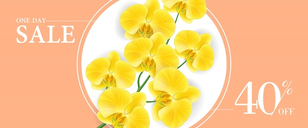 One day sale forty percent off banner with yellow flowers in round one day sale forty percent off banner with yellow flowers in round frame free vector mightylinksfo