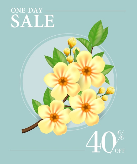 One day sale, forty percent off poster with\ yellow flowers in round frame
