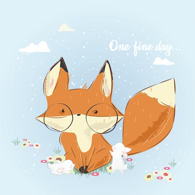 One fine day_fox and bunnies Premium Vector