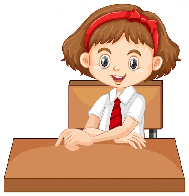 One happy girl sitting on the desk Free Vector