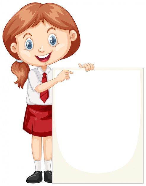 One happy girl with blank board Free Vector