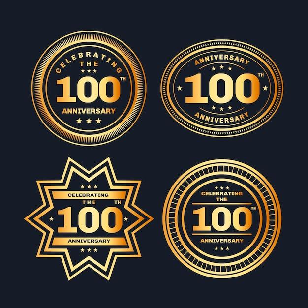Набор 100 юбилейных значков Premium векторы