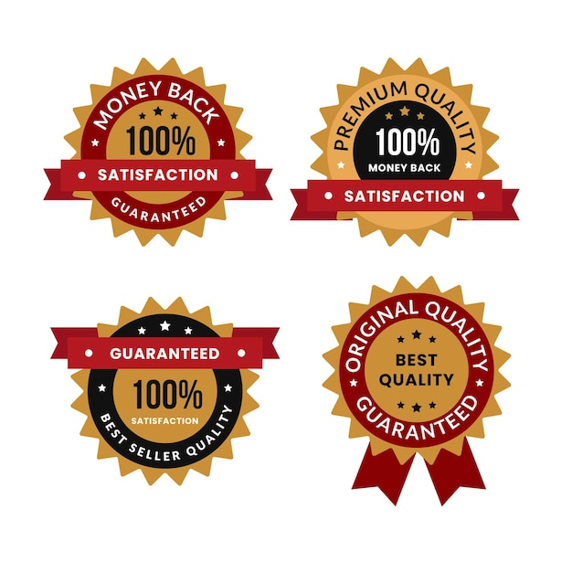 One hundred percent guarantee badge collection Premium Vector