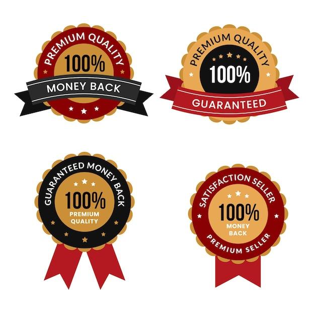 One hundred percent guarantee badge pack Premium Vector