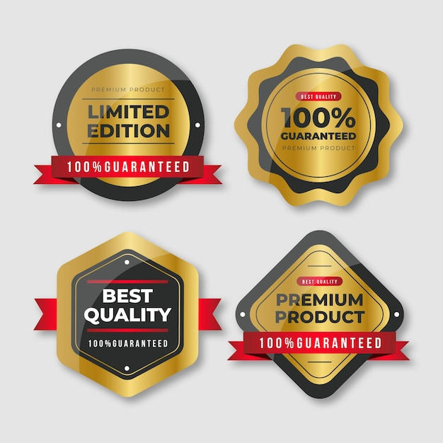 One hundred percent guarantee badge selection Free Vector
