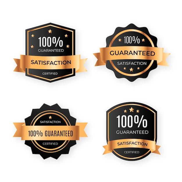 One hundred percent guarantee badges pack Premium Vector