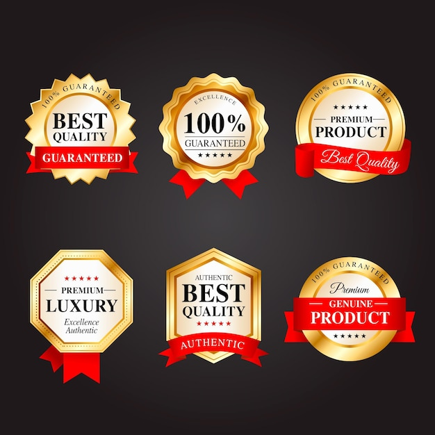 One hundred percent guarantee badges Premium Vector