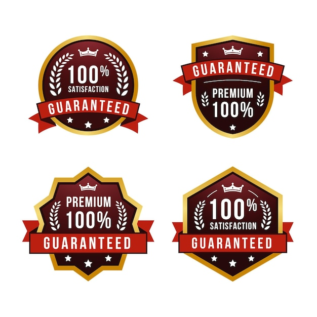 One hundred percent guarantee label collection Premium Vector