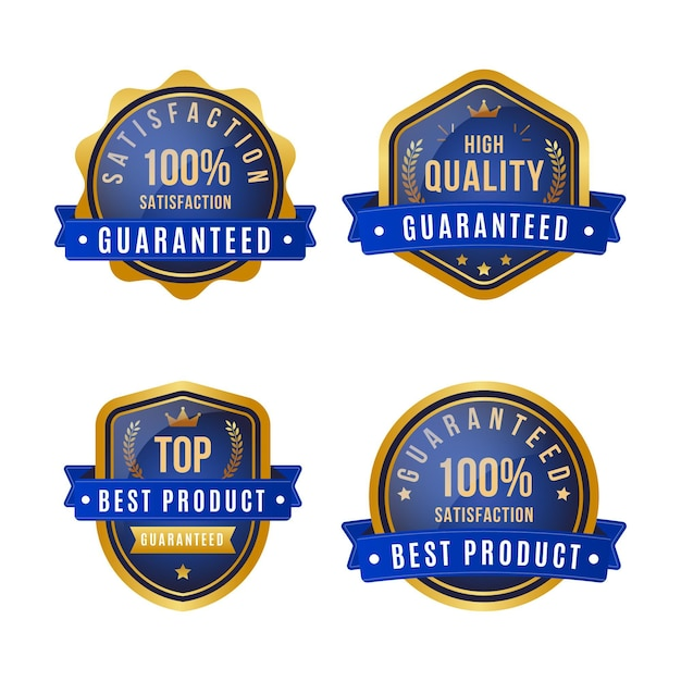 One hundred percent guarantee label pack Premium Vector