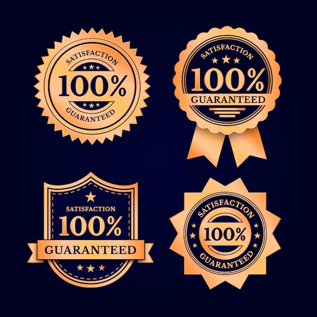 One hundred percent guarantee label selection Premium Vector
