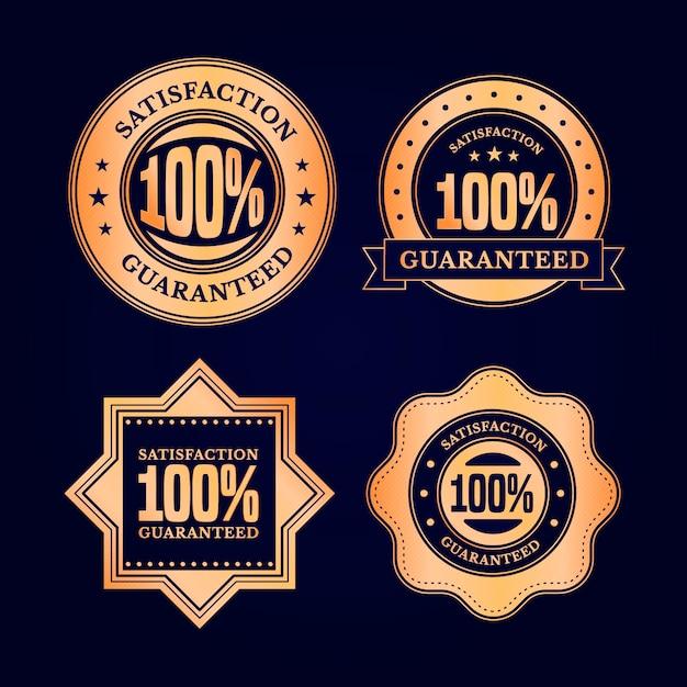 One hundred percent guarantee label set Premium Vector
