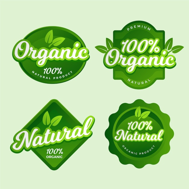 One hundred percent natural badge collection Premium Vector