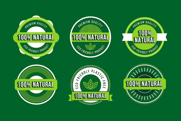 One hundred percent natural badge pack Free Vector