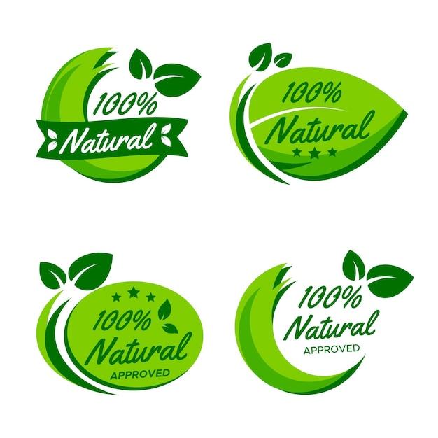 Набор 100% натуральных значков Premium векторы