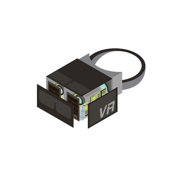 One isolated gadgets scheme isometric composition shows what s inside in processor vector illustration Premium Vector