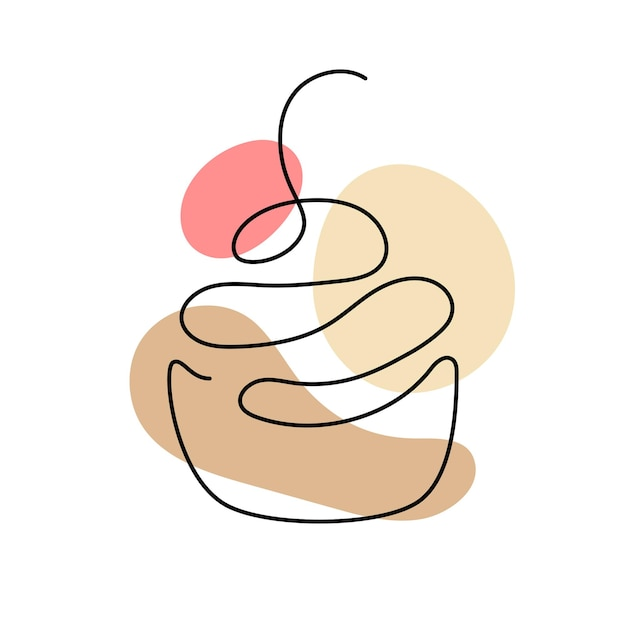 One line art of cupcake with cherry. hand drawn logo. cafe and bakery concept. vector illustration