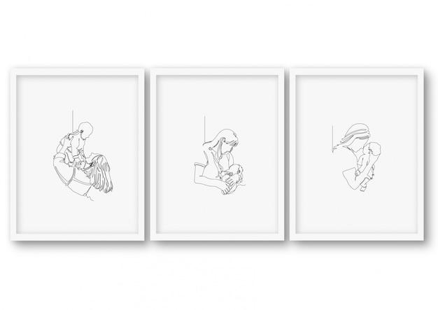 One line art mother day baby shower poster stock illustration Premium Vector