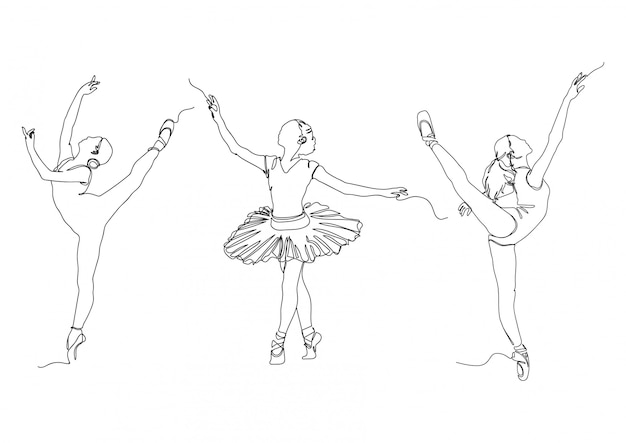 One line ballerina pose set logos stock illustration vector Premium Vector