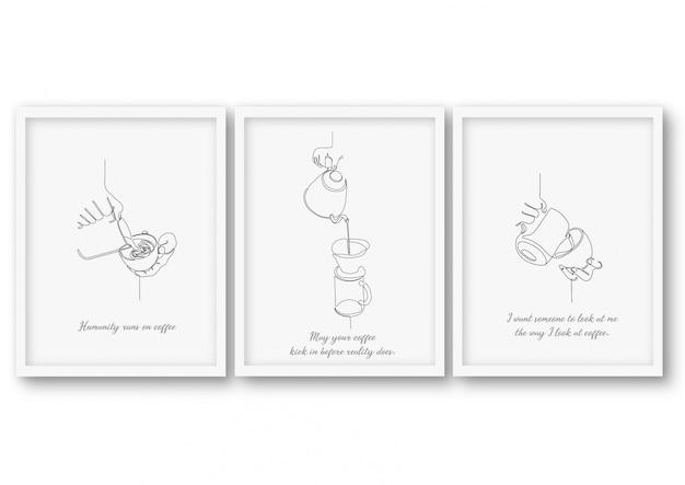 Набор иллюстраций кофе одной линии Premium векторы