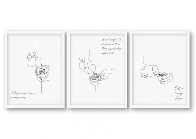 Одна линия кофе плакат складе иллюстрация Premium векторы