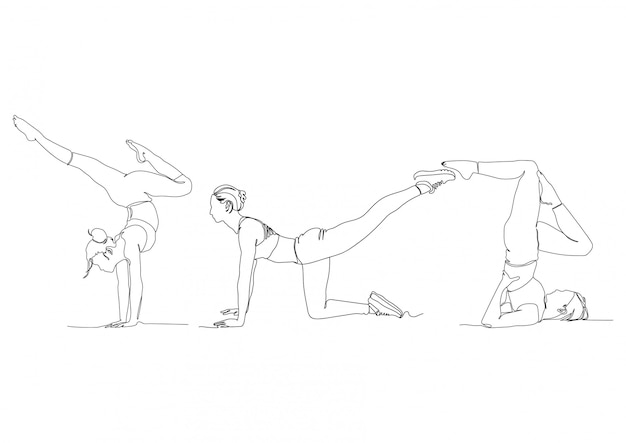 Одна линия тренажерный зал позы йоги набор логотипов векторная иллюстрация Premium векторы