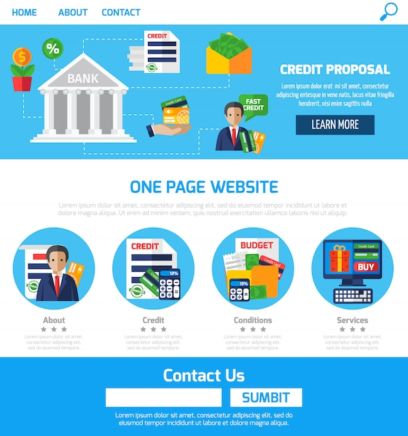 One page credit proposals for website Free Vector