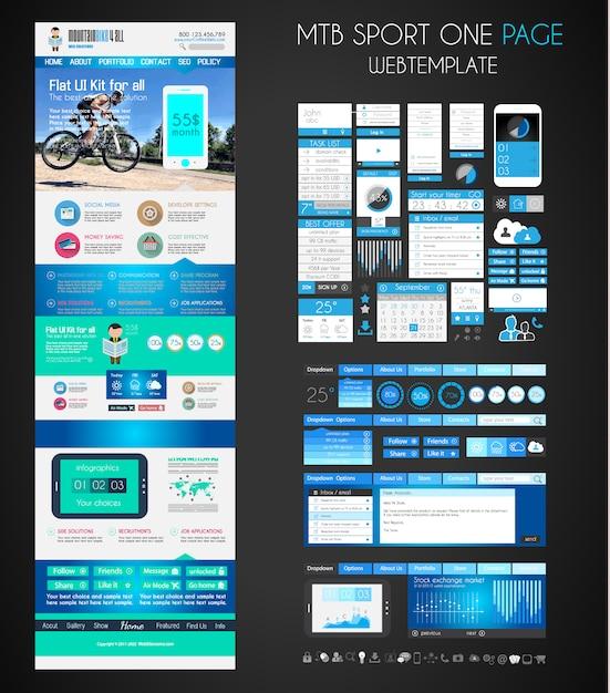 One page sport website flat ui template. Premium Vector