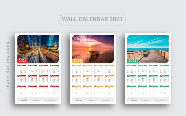 One page wall calendar 2021 Premium Vector