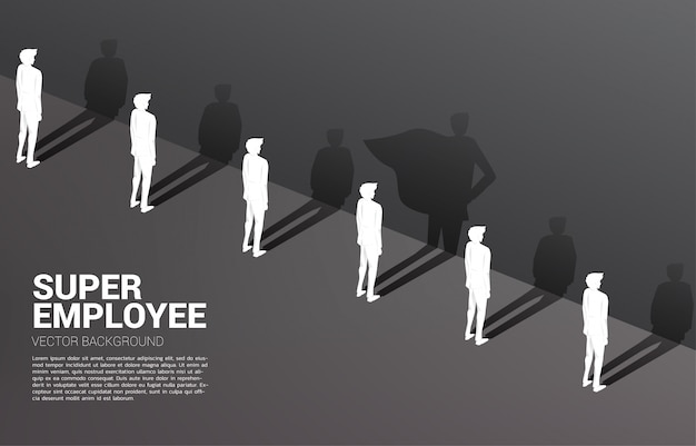 One of silhouette of businessmen with and his shadow of superhero.concept of empower potential and human resource management Premium Vector