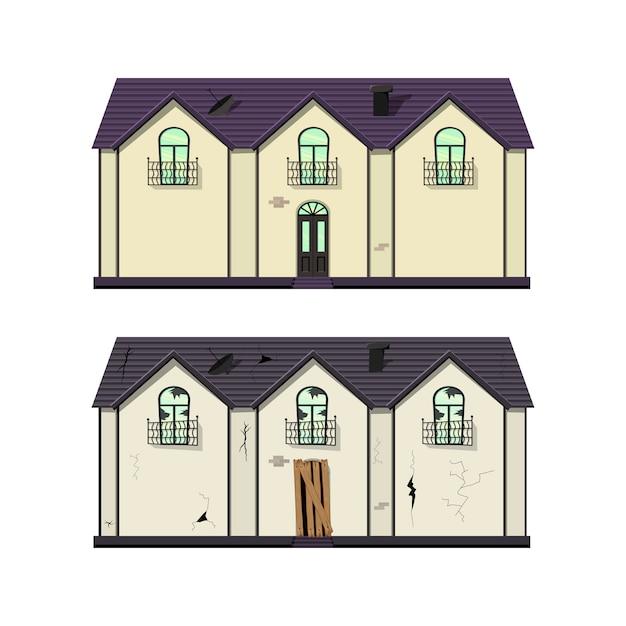 Одноэтажный дом до и после ремонта. мультяшный стиль иллюстрации. Premium векторы