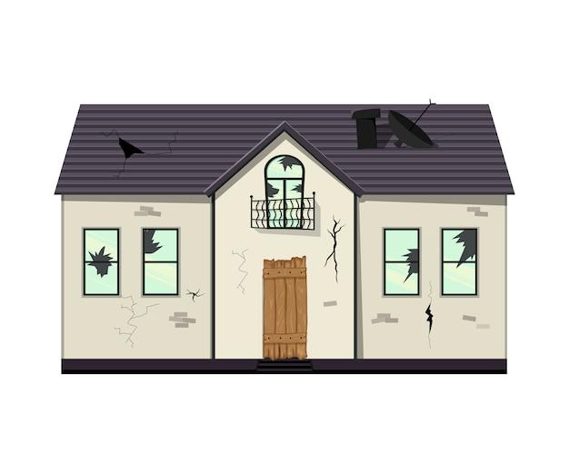 改築前の一階建ての老朽化した家。漫画のスタイル。図。 Premiumベクター