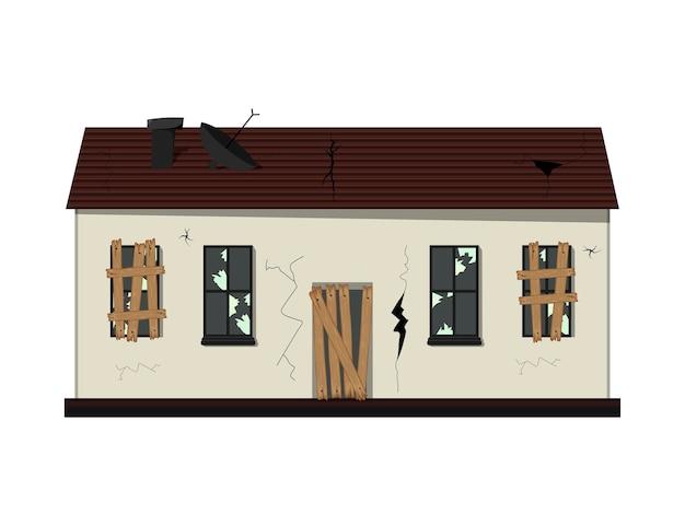 リノベーション前の平屋建ての老朽化した家。漫画のスタイル。 Premiumベクター