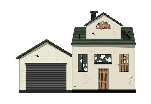 Одноэтажный ветхий дом до ремонта Premium векторы