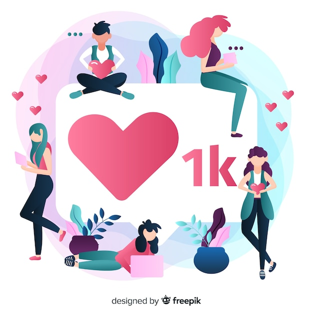 One thousand followers in social media Free Vector