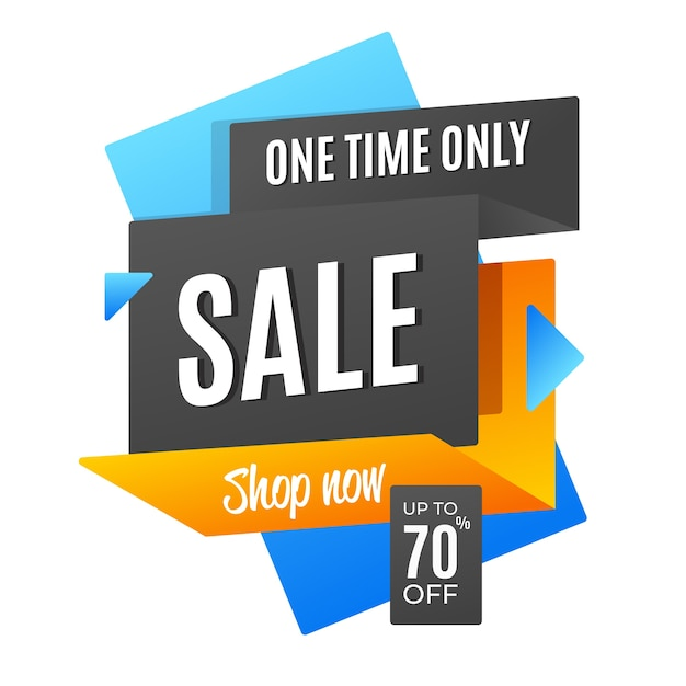 One time only sale origami style Free Vector