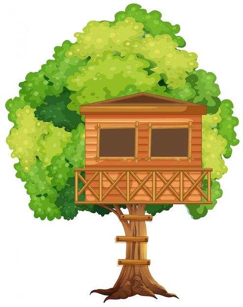 Una casa sull'albero nell'albero Vettore gratuito